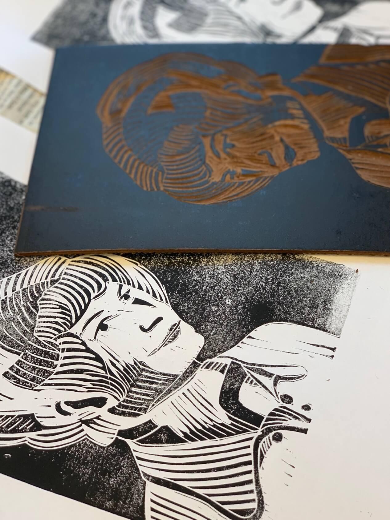 Drucktechniken für Anfänger: Linoldruck, Kaltnadelradierung
